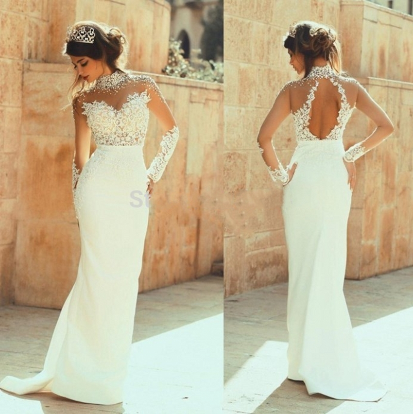 2018 Elegant High Neck Lace appliques Long Sleeve Mermaid Party Gown robe de soiree vestido de festa longo bridesmaid dresses