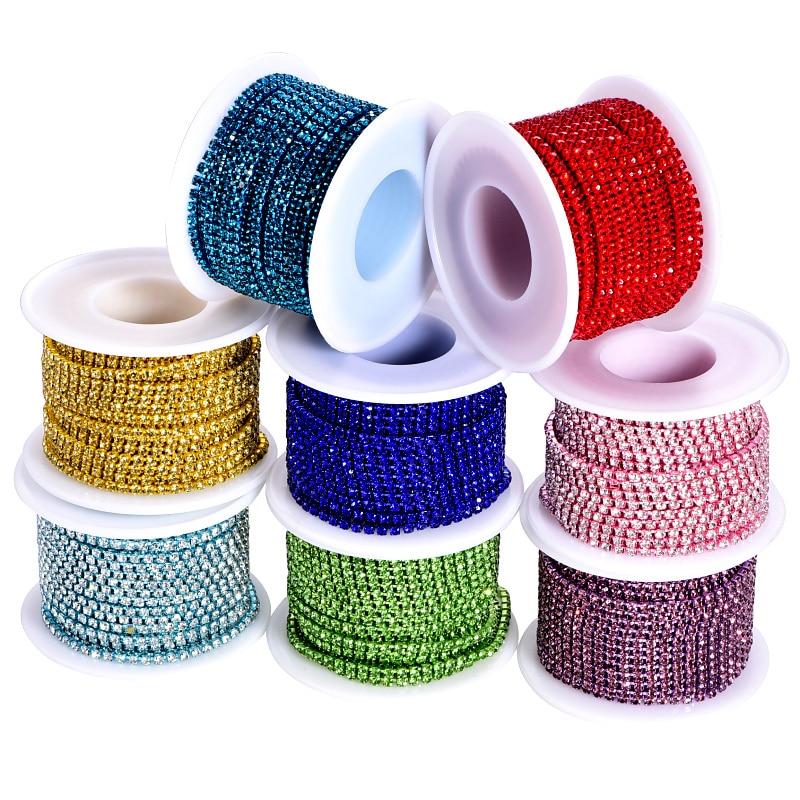 Цветные стразы 10 ярдов, стразы одного цвета для обрезки дна и камней, стеклянные стразы, Хрустальная чашка F0212