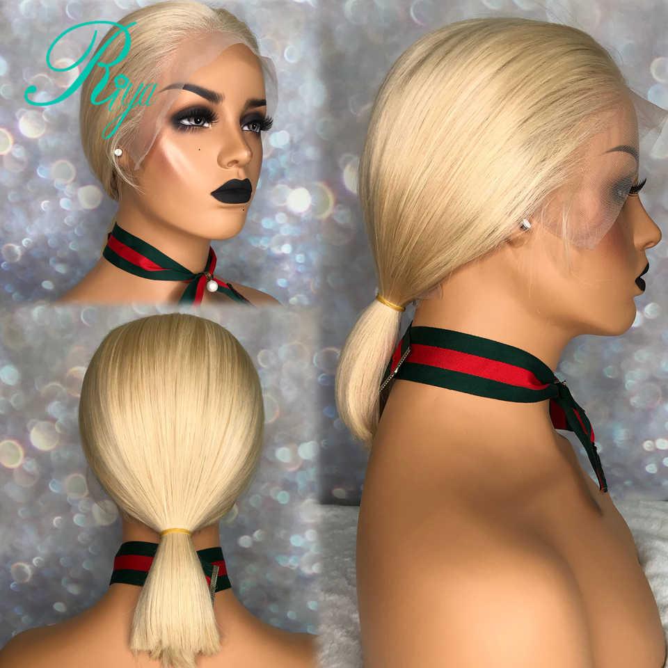 13X6 Pixie Onzichtbare Short Cut Bob Blunt Lace Front Menselijk Haar Pruiken Voor Zwarte Vrouwen H 8- 16 honing Blonde Kleur Braziliaanse Straight