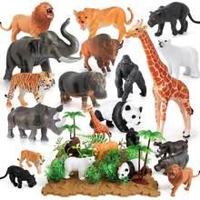 44 szt. Zwierzęta dżungli figurki Mini realistyczne dzikie Zoo plastikowe zwierzęta nauka zabawki edukacyjne na prezent urodzinowy dla dzieci