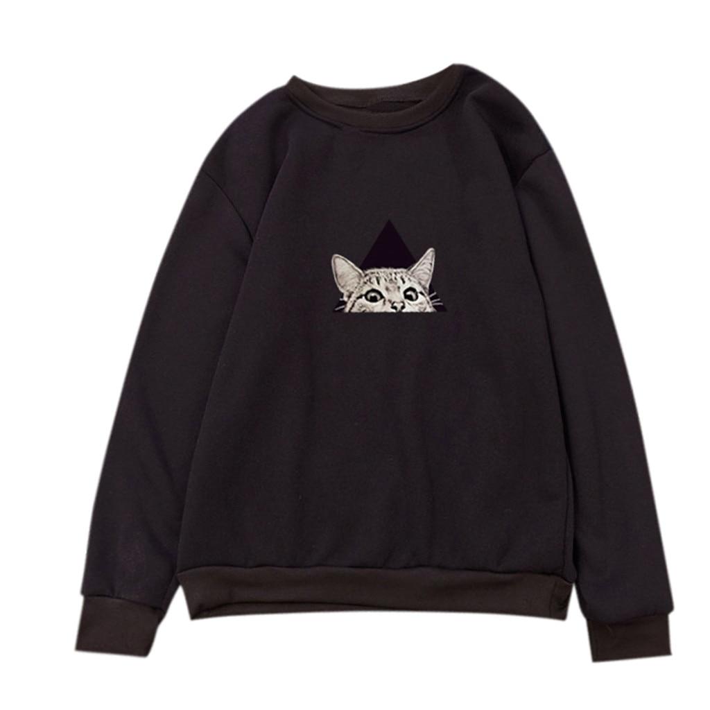 2019 Unisex Men Women Casual Sweatshirt Long Sleeve O-Neck Cat Printed Sweatshirt Pullover Harajuku Streetwear Casual Tops