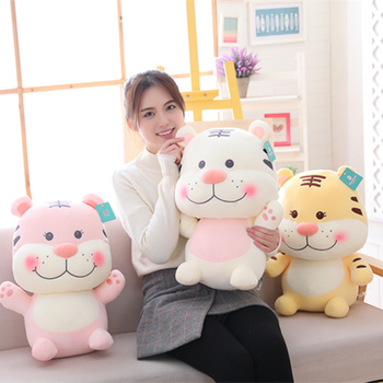 ins Cute Soft Plush Toy sitting Smile Little Tiger Plush Toy Tiger Doll Sleeping Pillow Cartoon Soft Padded Doll Girl xmas Gift huge 155cm lying white tiger plush toy prone tiger doll throw pillow birthday gift t8875