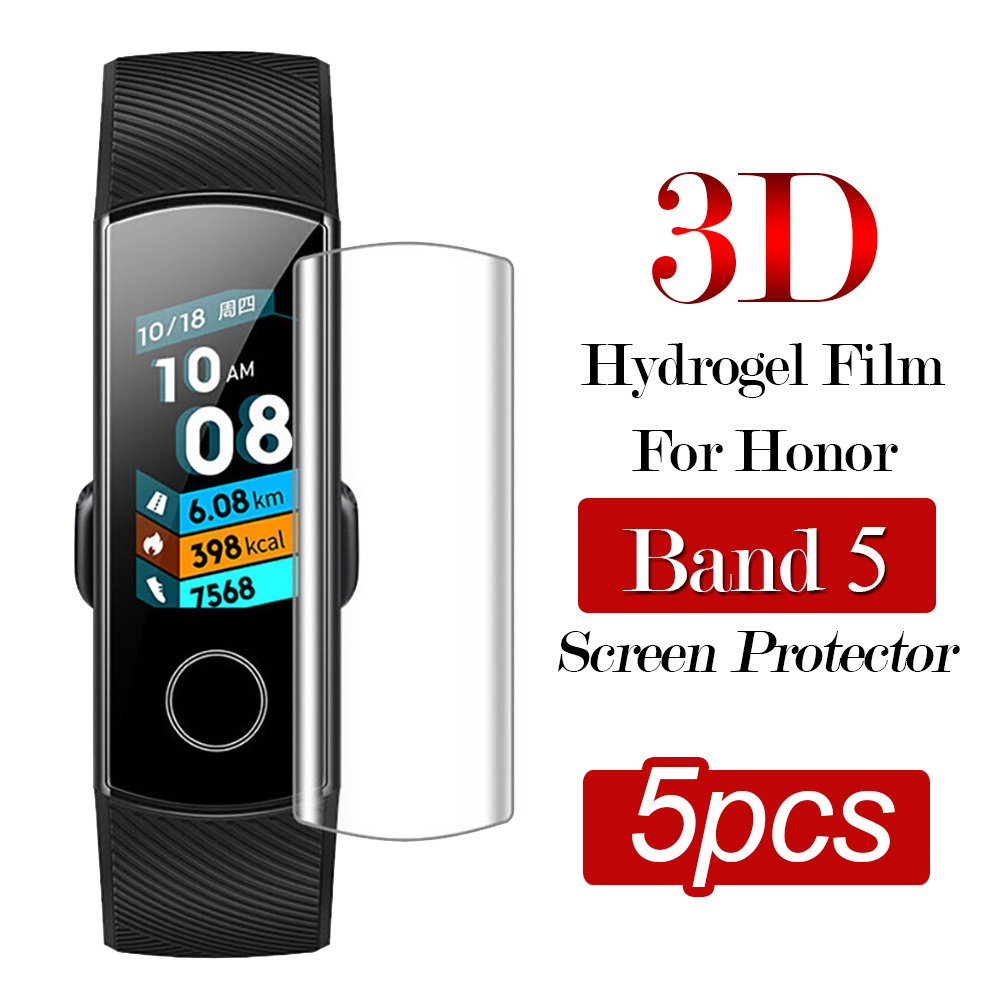 5pcs 3D Hydrogel Film On Honor Band 5 Screen Protector For Huawei Honor Band5 Full Cover Protection Anti-Scratch Bubble Free