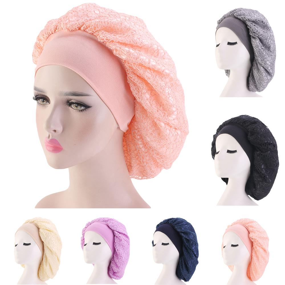 Fashion Women Satin Mesh Bonnet Cap Wide Band Night Sleep Hair Protect Head Cover Wide Band Hats  Beanies Skullies Hair Loss Hat