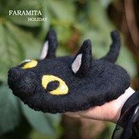 Faramita Holiday Decorative Hair Clip Women Kids Girls Hair Accessories 100% Wool Black Cat Handmade Headwear Cute Fashion Hats