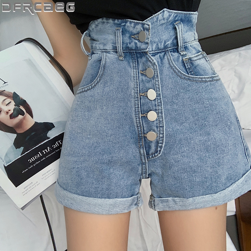 High Waist Crimping Denim Shorts For Women 2020 Summer New Single Buttons Elegant Women's Short Jeans With Pockets Blue Short