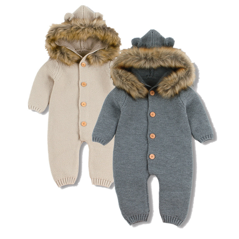 Hiver chaud enfants salopette garçons vêtements ours tricoté nouveau-né bébé barboteuses à capuche manches complètes infantile fille combinaisons tenues