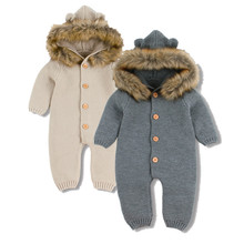 Winter Warm Children's Overalls Boys Clothes Bear Knitted Newborn Baby Rompers Hooded Full Sleeves Infant Girl Jumpsuits Outfits