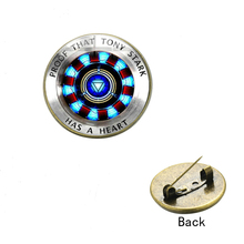New Iron Man Tony Stark Arc Reactor Print Brooch Badge Marvel The Avengers 4 Endgame Quantum Realm Chest Pin Fans Collection