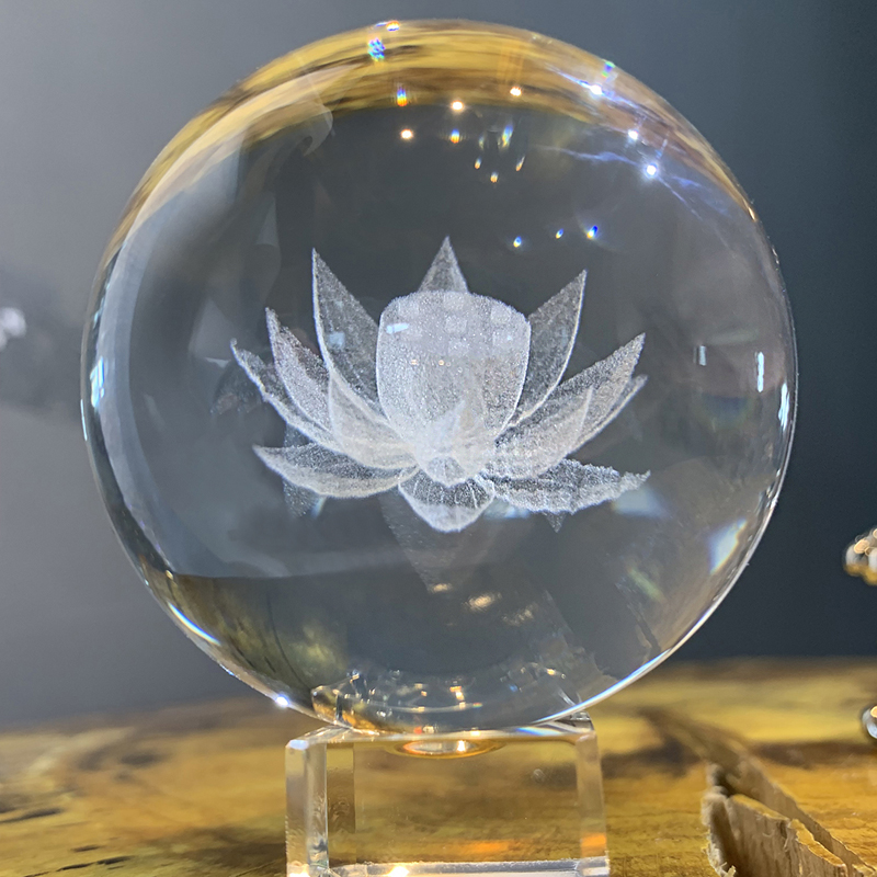 H&D 3D Laser Engraved Crystal Lotus Ball Paperweight With Stand Feng Shui Home Art Decor Figurines Ornament Wedding Gift (60mm)