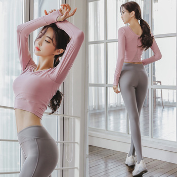 Yoga suit women spring and autumn new fast dry long sleeve tight sexy web celebrity gym running yoga