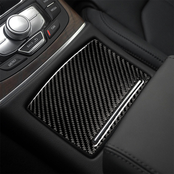 Decoración Interior de fibra de carbono tapa de la taza de agua arranque motor Media engranaje cambio cubierta del panel embellecedor pegatinas para AUDI A6 A7 2012-2018
