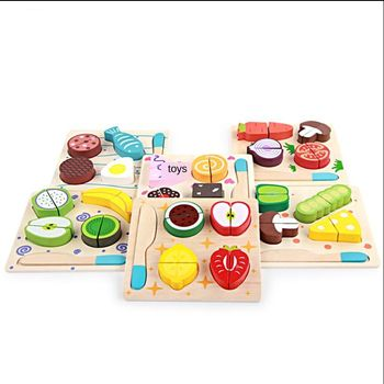 Children's wooden toy kitchen cut fruit and vegetable board cut and cut toys 6 model children's cognitive early education toys cut and sew tee