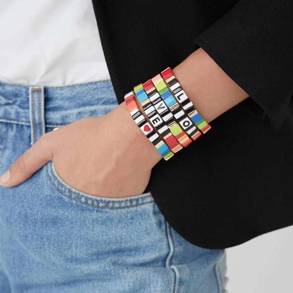 1Pcs Letter LOVE Bohemia Style Handmade Enamel Rainbow Tile Bracelet Colorful Painted Metal Cuff Bracelet(China)