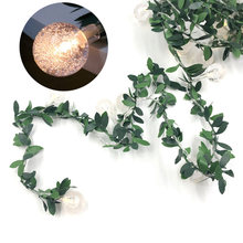 Светодиодная гирлянда с лампочками в виде зеленых листьев виноградного