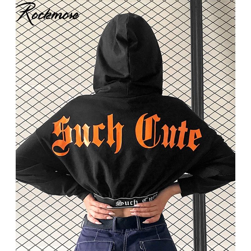 Rockmore Letter Printed Gothic Hoodies Women Oversized Hoodie Harajuku Streetwear Cropped Sweatshirt Sweat Femme Hoodie Autumn