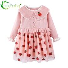 Платье для девочек littlespring милое вязаное платье свитер