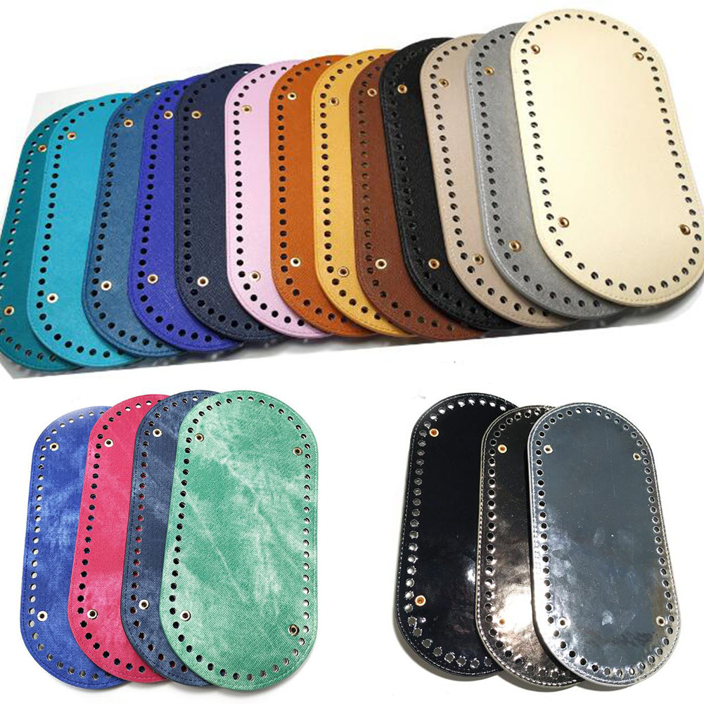 1PC Oval Long Bottom For Knitted Bag PU Leather Bag Accessories Handmade Bottom With 60 Holes DIY Crochet Bag Bottom