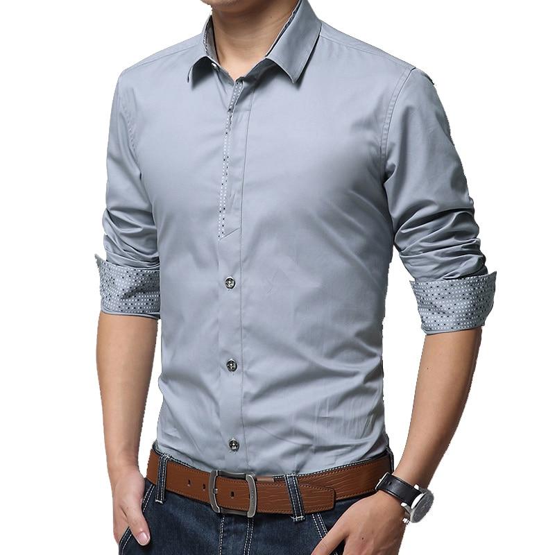 BROWON Shirts Men Dress Long Sleeve Turn-down Collar Solid Color Social Shirt Business Man Shirts High Quality Plus Size 5XL