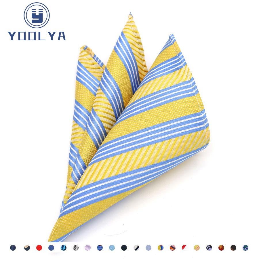New Arrived Classic Men's Silk Handkerchief Striped Hanky Jacquard Woven Pocket Square 25*25cm For Wedding Business Party
