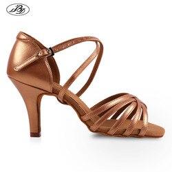 Venda quente das mulheres latina bd sapatos de dança 216 cetim sandália senhoras sapatos de dança de salão salto alto sola macia strass fivela