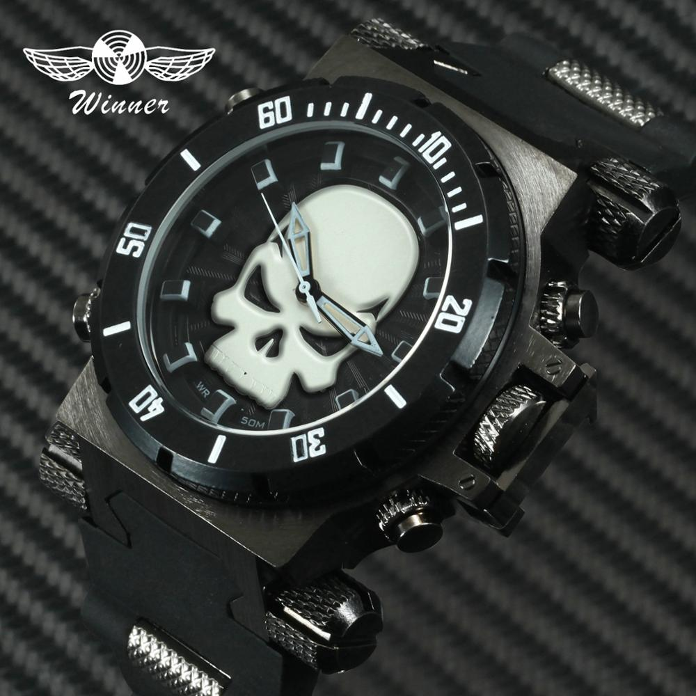 WINNER Official Men Sports Watches 3D Skull Punk Dial Quartz Analog Clock Rubber Strap Fashion Casual Watch For Man Waterproof