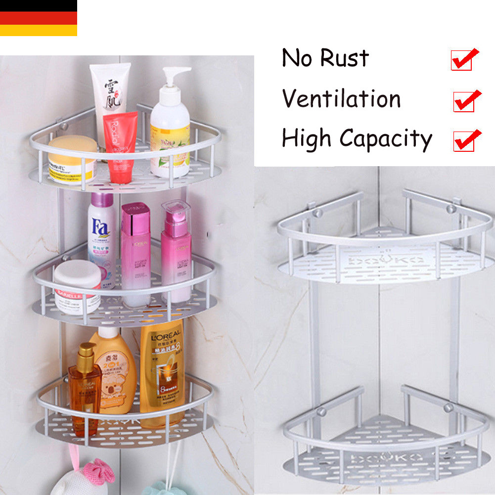 2/3Tier Aluminum Corner Storage Holder Shelves Bathroom Shampoo Shower Kitchen Storage Rack Organizer Bath Accessory Sets