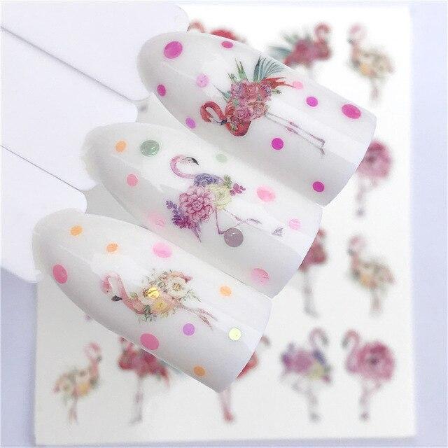 1 лист стикеров для ногтей, переводная наклейка с водой, мультяшный фламинго, милый цветочный дизайн с животными, слайдер для дизайна ногтей,...