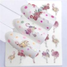 Flamingo 1 folha Nail Stickers Transferência de Água Etiqueta Dos Desenhos Animados Animal Bonito Flor Projetos Da Arte Do Prego DIY Slider Manicure Decoração
