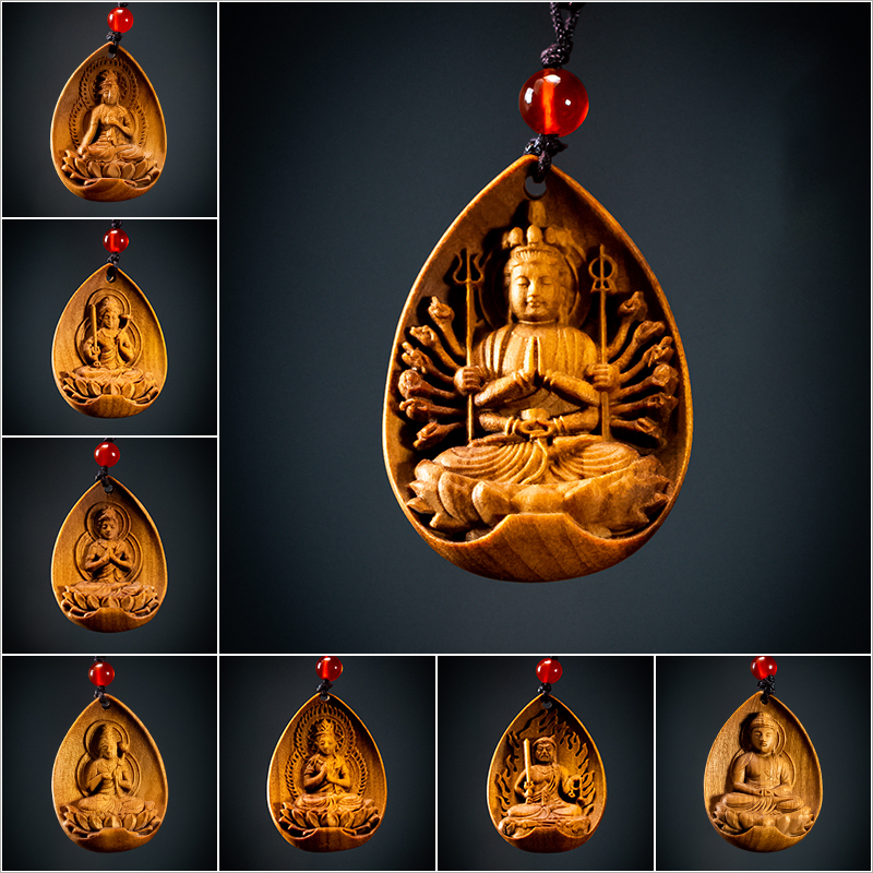 Zodiac Eight Great Patronus Orthodox Buddha Statue Necklace Woodcarving Pendant Australian Sandalwood Wood Carving