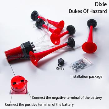 5 tube Dixie trąbka pneumatyczna głośne czerwone trąbki dźwięk muzyczny Dukes Of Hazzard Dixie Horn muzyka elektryczna trąbka pneumatyczna zmodyfikowane rogi tanie i dobre opinie HEYVO 8 7inch 3 6inch 21 7inch Wielu tone claxon rogi 1 7kg Iso9001 TZ-329