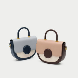 Women Genuine Leather Bag New Color Matching Saddle Bag Shoulder Portable Messenger Bag Fashion Half Moon Handbag
