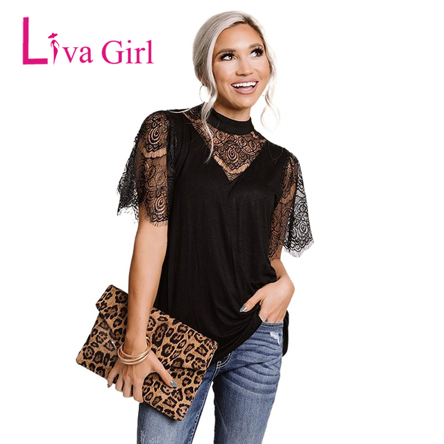 LIVA GIRL Casual Black Breaking News Lace Top Woman 2021 Summer Solid Short Sleeve Tops Female Sexy Hollow Out O-neck Clothes 1