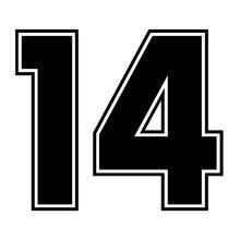 Criativo etiqueta do carro número 14 digital 14 engraçado adesivo de carro vinil decalque prata/preto para auto adesivos carro estilo 20*17 cm
