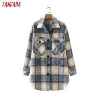 Tangada-Chaqueta de lana gruesa a cuadros azules para mujer, abrigo de gran tamaño con bolsillo, elegante, otoño e invierno, 2 m142, 2021