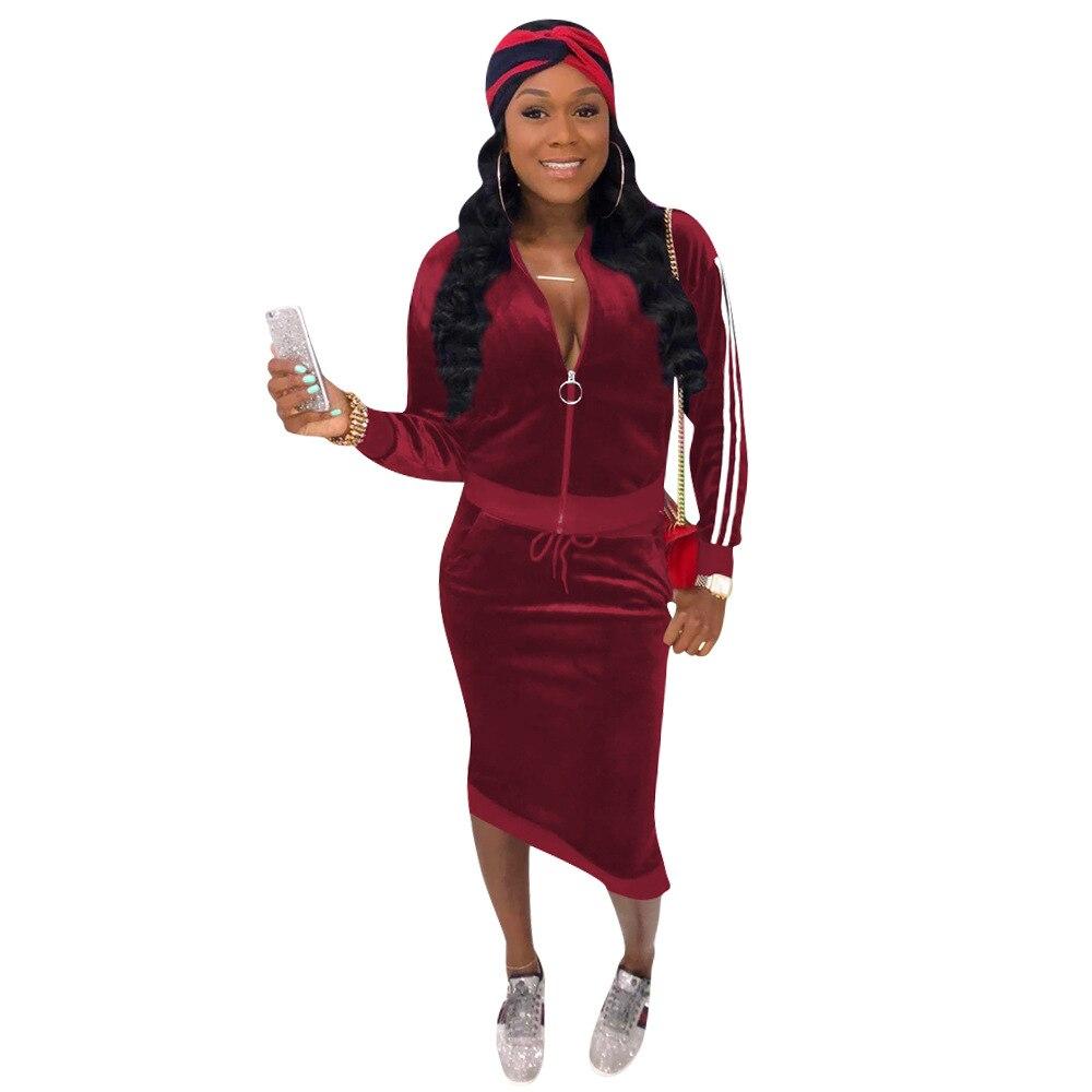 Wrap Skirt Set Suit Autumn Winter Women Ladies 2Pcs Tracksuit Long Sleeve Tops