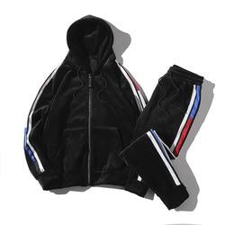Chaqueta deportiva para hombre, pantalones de ocio, conjunto de 2 piezas, trajes deportivos de terciopelo, trajes de sudor para hombre, holgado y suave chándal
