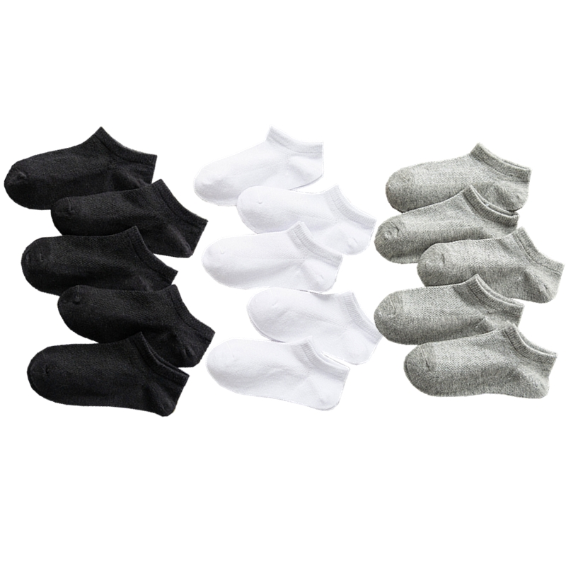 Looching Pack Of 5 Unisex Infant Baby Toddler Breathable Mesh Thin Cutton White Socks