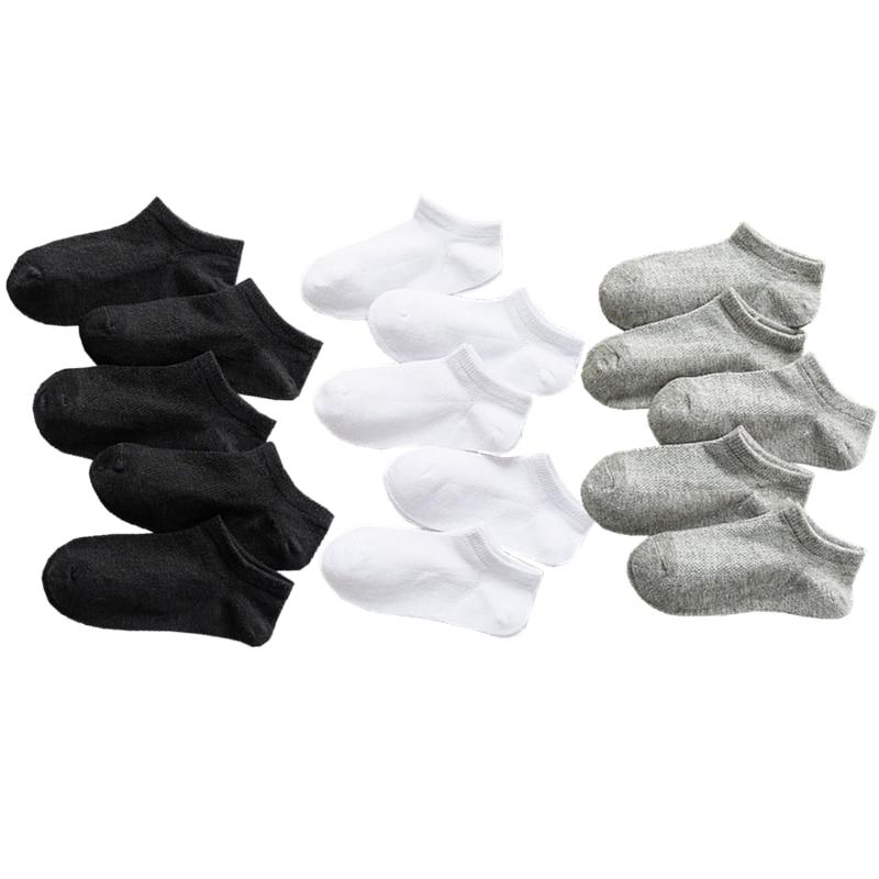 5 Pairs Baby Socks Boys Girls Black White Gray Socks Cotton Soft Newborn Babies Loose Comfortable Sock Kids School Sport Clothes