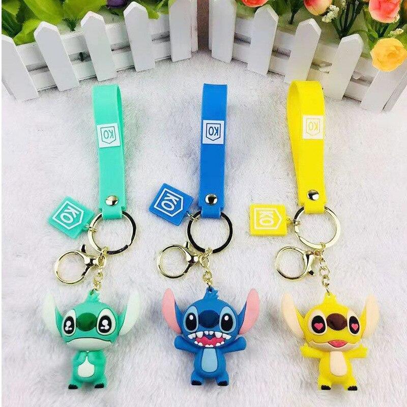 Disney Cute Cartoon Stitch Kiki Animal Monster Keychain Women Leather Rope Toys Kid Key Ring Chains Car Bag Charm