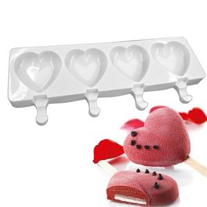Силиконовая форма для мороженого, 4 отверстия в форме сердца, формы для мороженого, морозильная камера, форма для шоколада, десерта