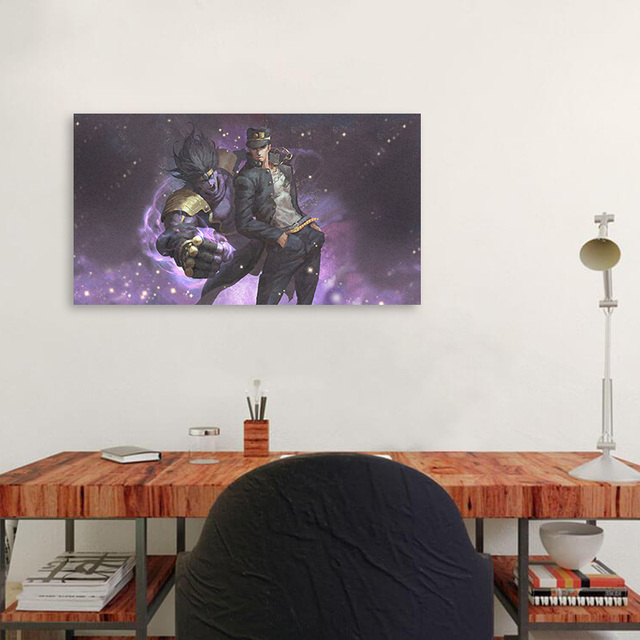 Jotaro Kujo Star Platinum JoJo Poster Framed Wooden Frame Canvas Wall Art Decoration prints Dorm bedroom decor Painting 2