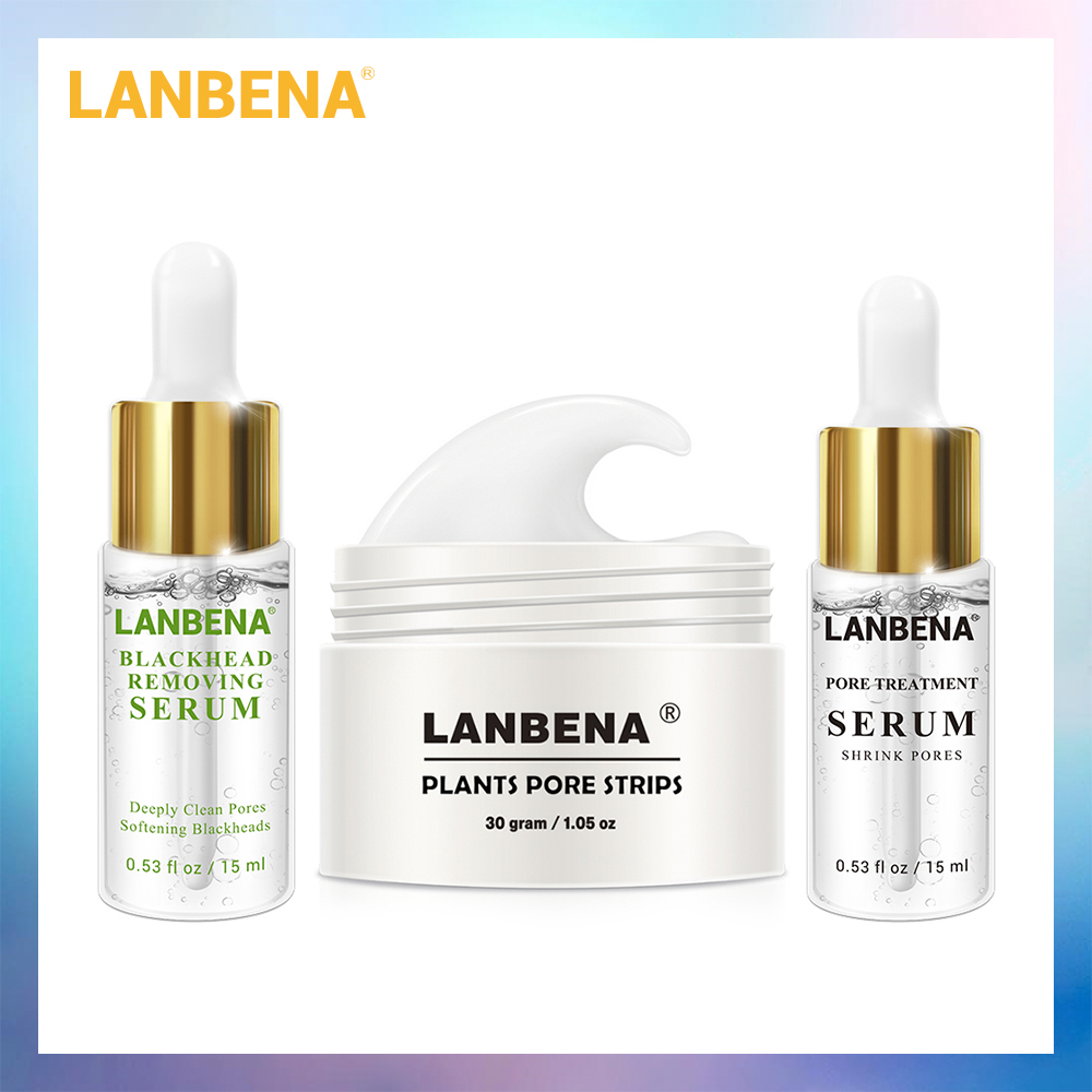 LANBENA Plants Blackhead Remover Mask+Pore Strip Essence Black Mask Peel Off Mask Peeling Acne Treatment Nose Mask Skin Care