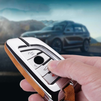 Car Key Case Cover Genuine Leather Galvanized Alloy for BMW X6 X5 X1 X5M X6M MPV 218i F86 F85 F48 F46 F45 F16 F15 image