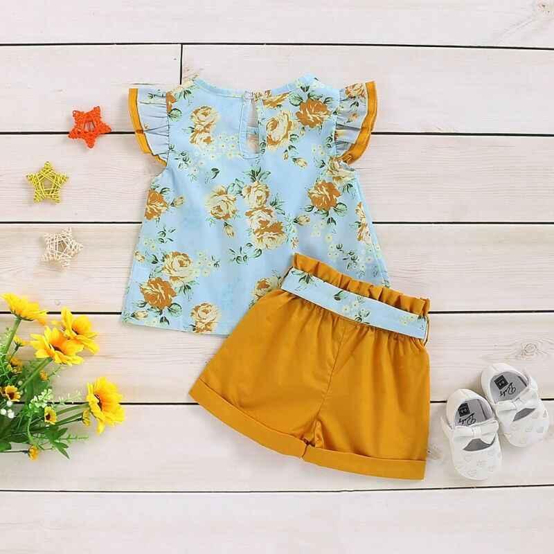 2020 letnie ubrania dla dzieci maluch dziewczynka ubrania kwiatowy wzburzyć koszulka top Sash Bowknot szorty strój lato 1-4Y
