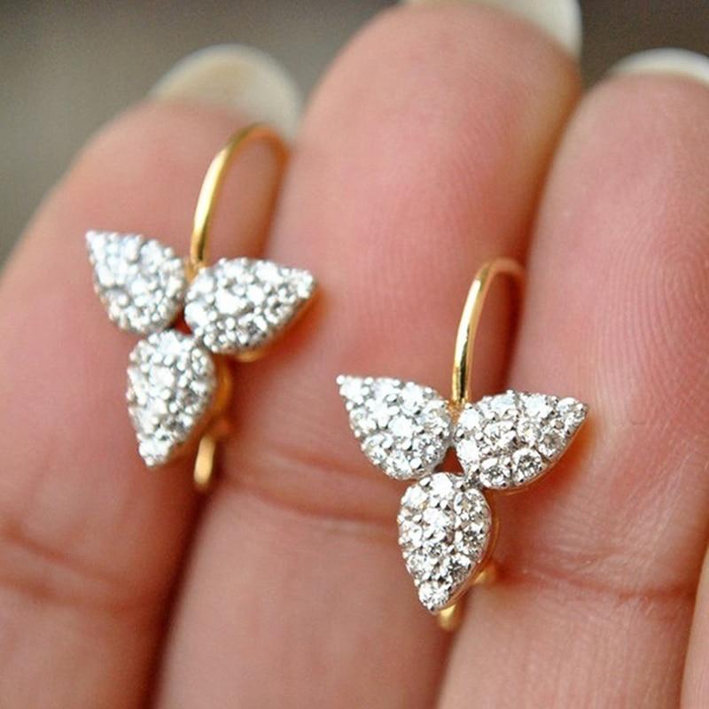 Huitan Simple and Stylish Leaf Shape Women Earring Dazzling Crystal Zircon Delicate Female Drop Earrings Daily Wearable Jewelry