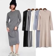 winter knitting dress women england simple style solid o-neck sheath vestidos de fiesta noche maxi