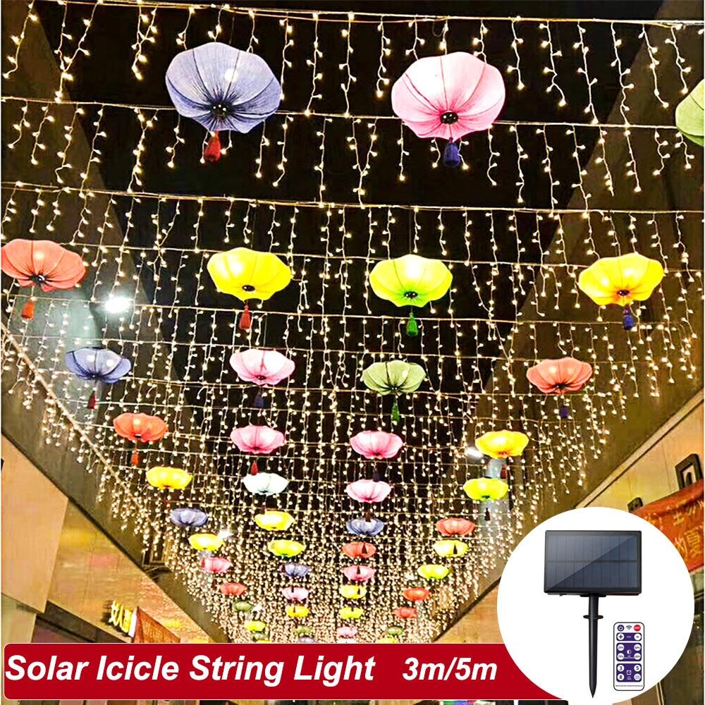 Solar Panel LED String Light Outdoor 3m/5m Fairy Icicle Curtain Light 3.7V/1200mAh IP65 Decorate Holiday Bedroom Garden Light