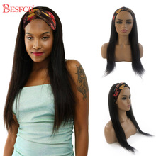 Headband Wigs Human-Hair Non-Lace Water-Curly Deep-Wave No-Glueless 1b-Color Natural