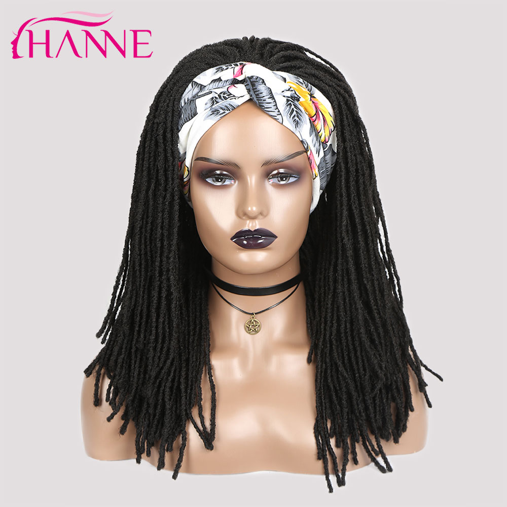 HANNE – perruque Dreadlock synthétique noire longue et douce, Faux Locs tressés au Crochet, perruques torsadées pour femmes/hommes